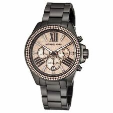 NEW Women's Michael Kors Watch MK5879 Rose Gold Black Chronograph Ladies Watch