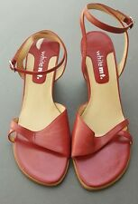 White Mountain JULIE Women US 8.5 RED Wedge Sandal WRAP AROUND ANKLE STRAPPY