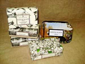 4 Bars Beekman Goat Milk Soap and Travel Tin ARCADIA , 2 HONEY & OATS, VANILLA