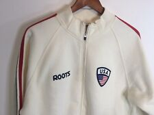 Roots Track Jacket Usa Vintage M Zip White Red Blue Cotton Sweat Suit Stitching