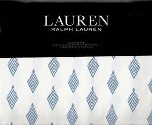 Ralph Lauren King Sheet Set Valerena Blue 4pc French Cottage Feather Diamond