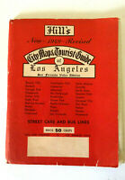 Vintage paper mid century huge Hill's tourist map L.A. street cars buses 1949