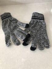 New Mens Grey And Black Fleck Gloves