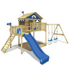 WICKEY Smart Coast Parco giochi con altalena doppia in legno Scivolo