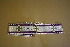 (One Yard) Religious Cross Gold & Purple on White Banding Vestment Silk, 3''