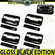 2004-14 F150 Crew Cab GLOSS BLACK Door Handle Covers w/o PSK w/KP+Tailgate w/KH