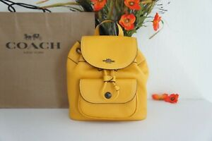 NWT Coach C4121 Pennie Backpack 22 in Pebble Leather Ochre $350