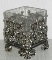 Windlicht Teelichthalter Tischleuchter rechteckig aus Hartzinn-Strassteine 8x6cm