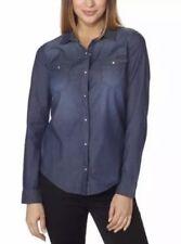 NWT Calvin Klein Jeans Women's Blue Denim Shirt Button Down Blouse Top Small