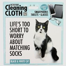 Black & White Cat Microfibre Cleaning Cloth Tablet Phone Glasses Cat Lovers Gift