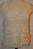 Women's Rue 21 Ivory Sheer Crochet Lace Orange Sleeveless Top Size Large