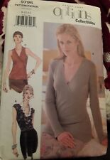 Vogue Easy Options Sewing Pattern 9796 Pullover V Neck Top Size 8-10-12 Uncut