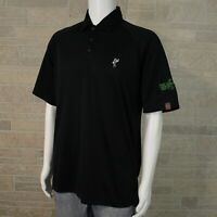 AWS Ashworth Weather Men's MEDIUM Texas Indoor Golf Black SS Polo Shirt