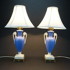 2 Vintage Blue White Porcelain Vase Table Lamps w/ Shades & LED bulbs