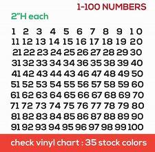"Vinyl Decals Stickers1-100 Numbers 100 Sport Helmet Boat window Car Wall 2"" tall"