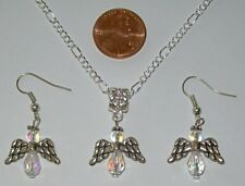 """CHRISTMAS NECKLACE & EARRING SET-ANGELS-24"""" SILVER PLATED-CRYSTAL BEADS"""