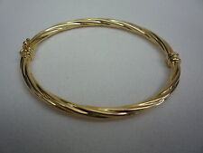 new 9ct 9k yellow gold bangle hinged twisted rope made in italy 4.4gr
