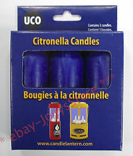 UCO Citronella Candles 3 Pack for Candle Lanterns NEW Camping Survival Gear