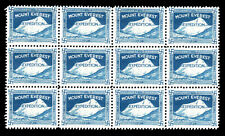 1924 Nepal,  Mount Everest, Himalayan Expedition sheet of 12 stamps in MNH.
