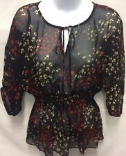 FEI Anthropologie Women's Boho Silk Sheer Smocked Ruched Peasant Blouse XS