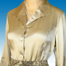 New 100% LIQUID SILK Blouse Shirt Sz 6 in CHAMPAGNE TAUPE Buttoned Cuffs PRETTY