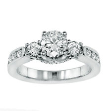1.80 CT 3-Stone Engagement Ring with Channel Set Side Diamonds in 18k White Gold