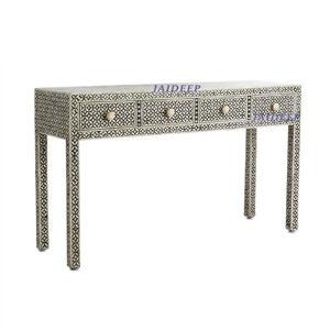 Handmade Antique Bone Inlay Geometric Black 4 Drawer Console Table
