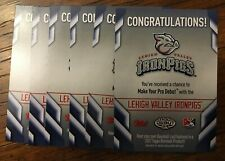 2020 Topps Heritage Minor League Iron Pigs Scratch Code Cards Unused (6 Total)