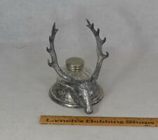 inkwell stand desk Reed & Barton horned elk head blown glass Victorian antique