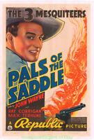 PALS OF THE SADDLE MOVIE POSTER Original 1938 Folded 27x41 On Linen  JOHN WAYNE