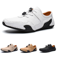 Mens Leisure Driving Leather Shoes Moccasins Slip on Loafers Soft Comfy Low Top