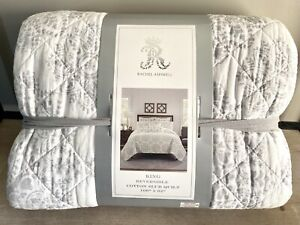 Rachel Ashwell Gray Ivory KING QUILT medallion geometric design New Cotton Slub
