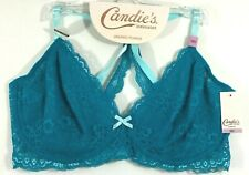 Candies Intimates Plunge Bra Aqua Blue Lace Unlined Wired Conv Back Size 38D NWT