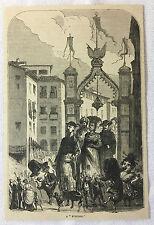 1878 magazine engraving ~  A FUNCION, Spain carnival scene