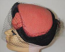 Vintage 1950s Women's Juliette Hat Cap Veil Coral Black Velvet Accent Millinery