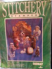 Vintage 1989 Bernat Nativity Scene Stamped Embroidery NIP Free Shipping