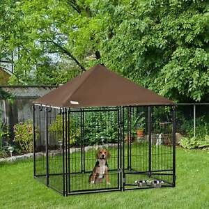 PawHut Outdoor Dog Kennel Play Pen Playpen w/ Canopy Rotating Bowl 141x141x121cm