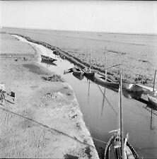 ESPAGNE c. 1950 - Barques Marais de l'Albufera Valence - Négatif 6 x 6 - Esp 200