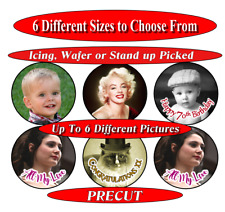 6 PRE-CUT Personalised photo or photographs edible cupcake toppers 6 size choice