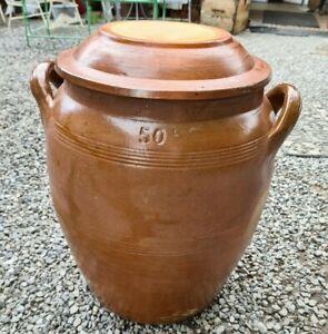 saloir en grés vernissé avec couvercle 50 litres
