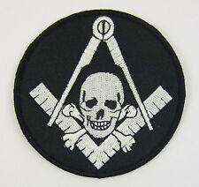 Masonic Square & Compasses with Skull & Bones Patch Biker Mason Freemason