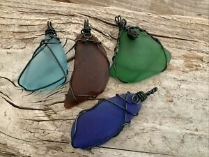 4 Pcs Wire Wrapped Sea Glass pendants Black Wrap Necklace Boho Aluminum Sunny