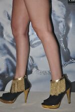 PARTY MISS SIXTY BLACK SUEDE SEXY GOLD PLATFORM BOOTS & GOLD CHAINS 7 EU 40