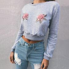 Mujer Manga Larga Sudadera Con Capucha Jersey Informal Top corto abrigo Suéter