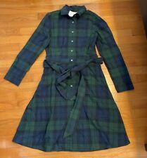 ~~ NEW! J Crew Factory Green Navy Plaid Belted Shirt Dress Size 4