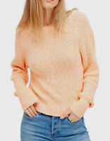 New Free People Electric City Pullover Long Sleeve Sweater Tangerine Sz M