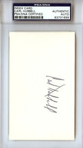 Carl Hubbell Autographed Signed 3x5 Index Card New York Giants PSA/DNA #83731699