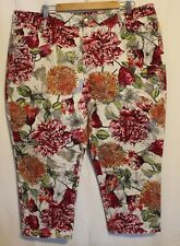 SPORTSCRAFT ~ Simone White Burgundy Green Floral Print Stretch Cropped Pants 20