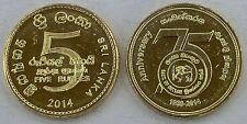 Sri Lanka 5 roupies 2014 75 ans Banque de Ceylan unz.