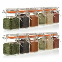24 Pack 3.4 Ounce Mini Square Glass Spice Jar with Orange Flip-Top Storage Jars.